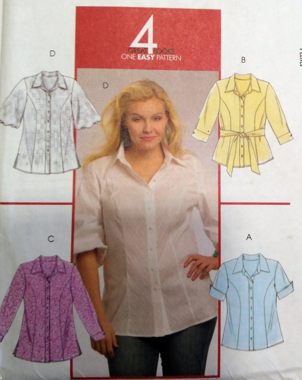 Women's Shirts In 2 Lengths & Belt McCalls M5673 Pattern,  Plus Size 26/w to 32W,  UNCUT