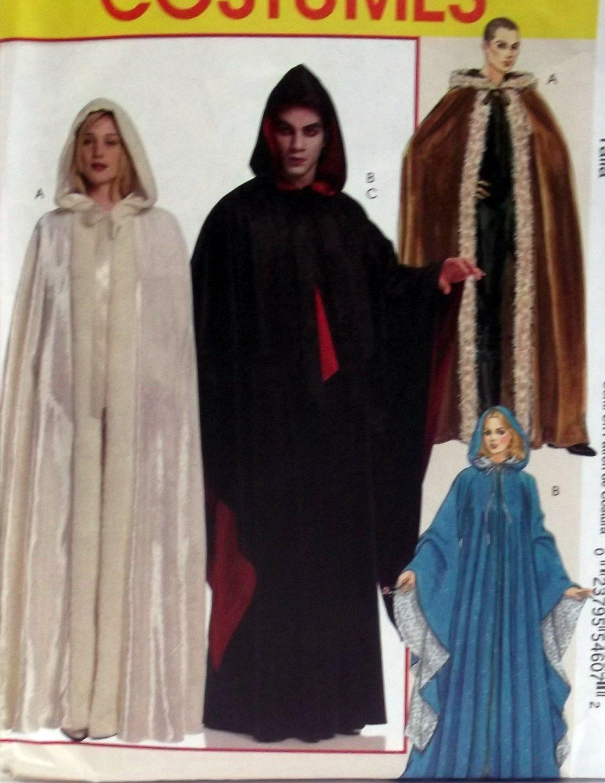 McCalls M5957, Unisex Hooded Cape Costume Pattern, XS S M L, Uncut