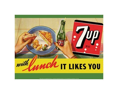 7 Up with Lunch - It Likes You Tin Sign