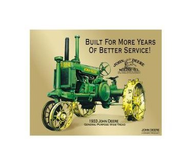 John Deere - 1933 General Purpose Wide Tread Tin Sign