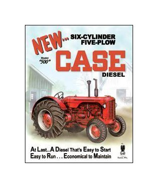 Case - Six Cylinder Five Plow Model 500 Diesel Tin Sign