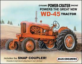 Allis Chalmers Manufacturing - Milwaukee Wisconsin - Model WD45 Tin Sign