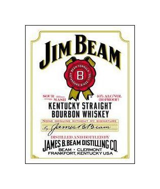 Jim Beam Whiskey - White Label Tin Sign