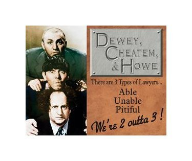 Three Stooges - 3 Types of Lawyers Tin Sign
