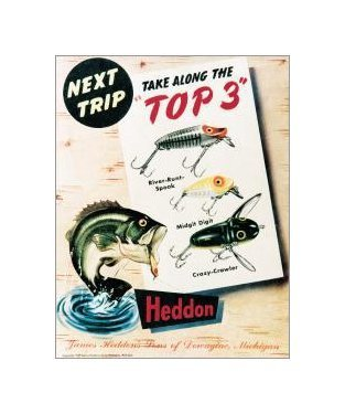 Fishing - Heddon Top 3 Tin Sign
