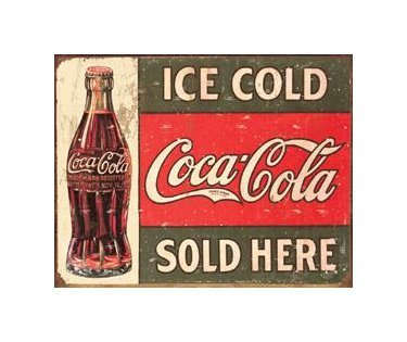 Coca Cola - Ice Cold Coca Cola Sold Here Tin Sign