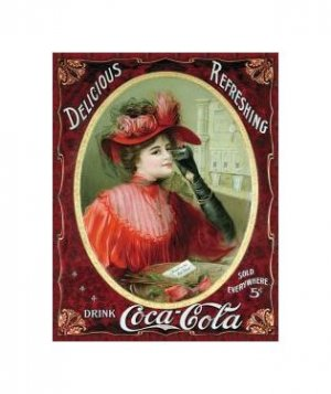 Coca Cola - Coca Cola Girl, Victorian Red Dress Tin Sign