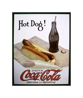 Coca Cola - Coke with a Hot Dog Tin Sign