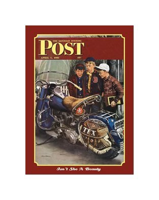 Saturday Evening Post - Motorcycle Cover - Isn't She a Beauty Tin Sign