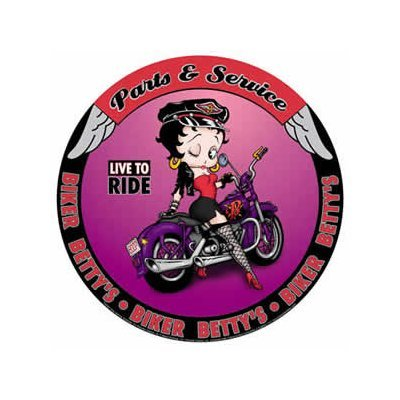 Betty Boop - Biker Betty's - Parts & Service - Live to Ride Round Tin Sign