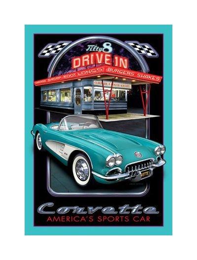General Motors '58 Corvette Diner Tin Sign