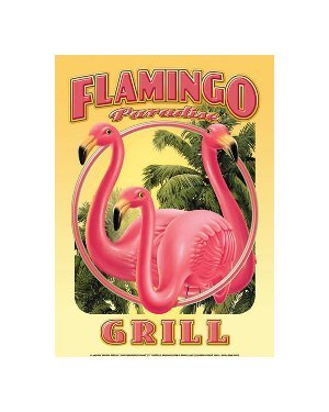 Flamingo Paradise Grill Tin Sign