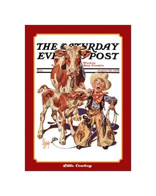 Saturday Evening Post - Little Cowboy Tin Sign