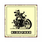 Motorcycle - Ride Free - Metal Art Sign