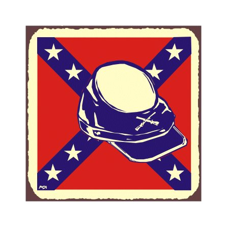 Rebel Hat with Color - Metal Art Sign