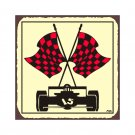 Race Car - Red Checkered Flag - Metal Art Sign