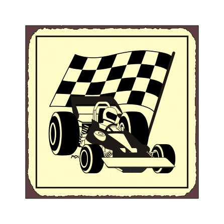 Race Car and Flag - Metal Art Sign