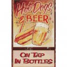 Hot Dogs and Beer - On Tap - In Bottles - Tin Sign