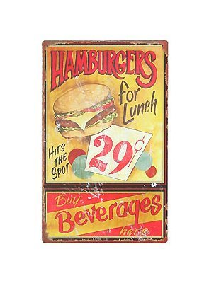 Hamburgers For Lunch - Tin Sign