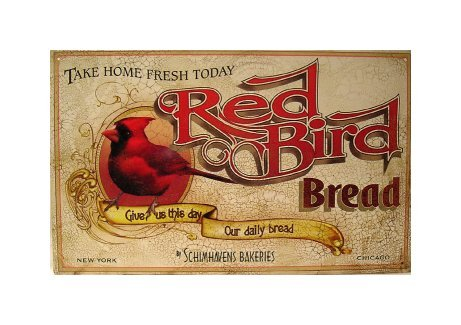 Red Bird Bread Tin Sign