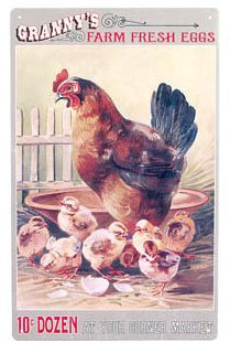 Granny's Farm Fresh Eggs Tin Sign