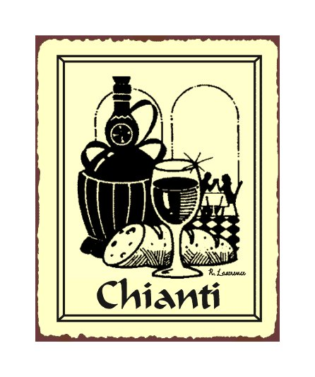 Chianti Wine Metal Art Sign