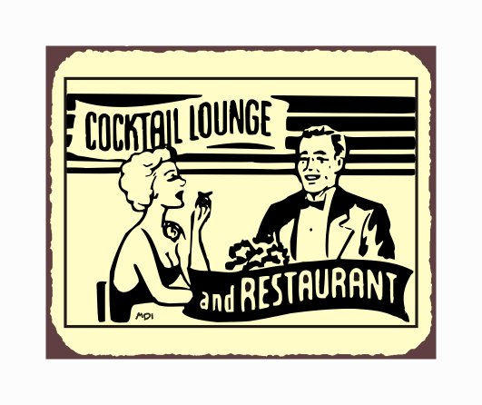Cocktail Lounge and Restaurant Metal Art Sign