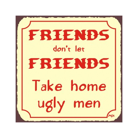 Friends Don't Let Friends Take Home Ugly Men Metal Art Sign