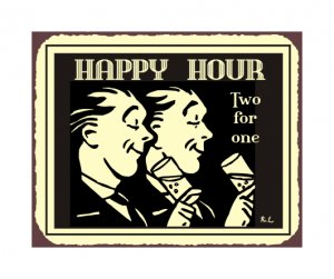 Happy Hour Two For One Metal Art Sign