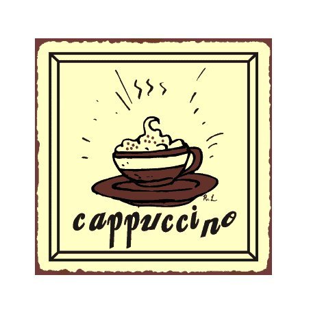 Cappuccino Metal Art Sign
