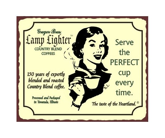 Lamp Lighter Country Blend Coffees Metal Art Sign