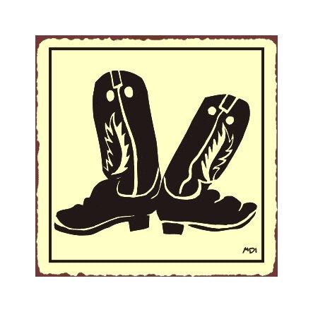 Cowboy Boots Metal Art Sign
