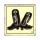 Cowboy Boots Metal Art Sign