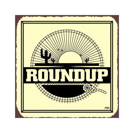 Roundup Cactus Metal Art Sign