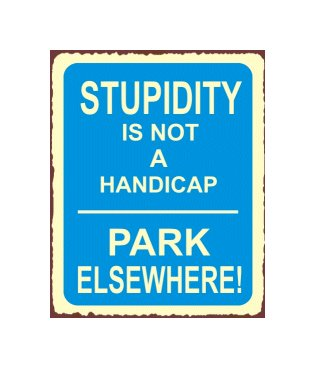 Stupidity is Not a Handicap Metal Art Sign