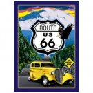 Route 66 - Yellow Hot Rod Tin Sign