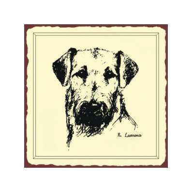 Airdale Sketch Dog Metal Art Sign