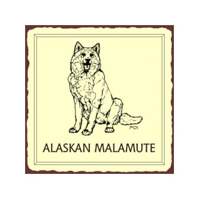 Alaskan Malamute Dog Metal Art Sign