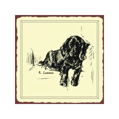 Black Lab Dog Sketch Metal Art Sign