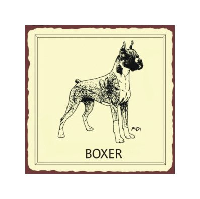 Boxer Dog Metal Art Sign