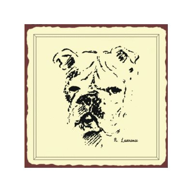 Bulldog Sketch Metal Art Sign
