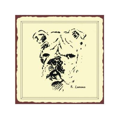Bulldog Sketch Metal Art Sign