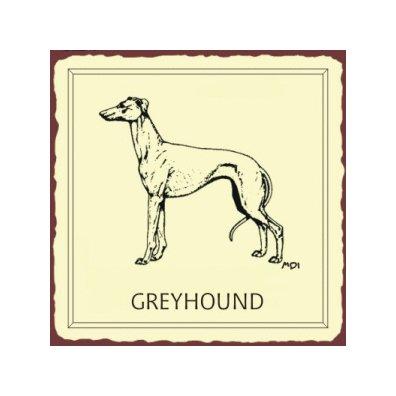 Greyhound Dog Metal Art Sign