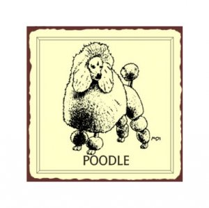 Poodle Dog Metal Art Sign