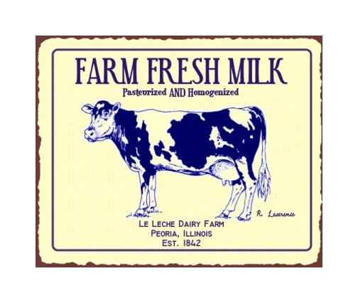 Farm Fresh Milk - Le Leche Dairy Farm - Peoria Illinois Metal Art Sign