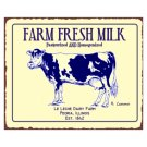 Farm Fresh Milk - Le Leche Dairy Farm - Peoria Illinois Metal Art Sign