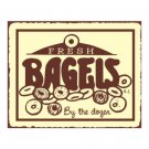 Fresh Bagels by the Dozen Metal Art Sign