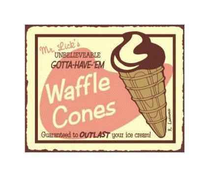 Mr. Lick's Waffle Cones Metal Art Sign