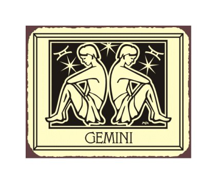 Gemini Zodiac Metal Art Sign