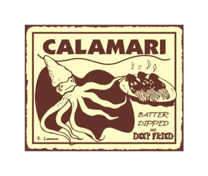 Calamari Batter Dipped and Deep Fried Metal Art Sign